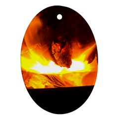 Fire Rays Mystical Burn Atmosphere Oval Ornament (two Sides)