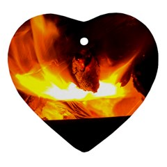 Fire Rays Mystical Burn Atmosphere Heart Ornament (two Sides)