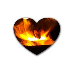 Fire Rays Mystical Burn Atmosphere Rubber Coaster (heart)