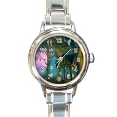 Background Forest Trees Nature Round Italian Charm Watch