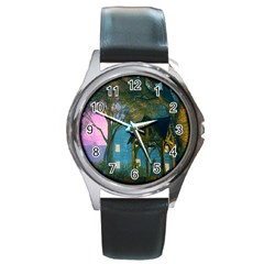 Background Forest Trees Nature Round Metal Watch