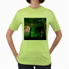 Background Forest Trees Nature Women s Green T Shirt