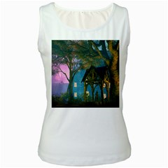 Background Forest Trees Nature Women s White Tank Top