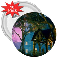 Background Forest Trees Nature 3  Buttons (10 Pack)