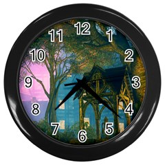 Background Forest Trees Nature Wall Clocks (black)