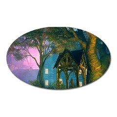 Background Forest Trees Nature Oval Magnet