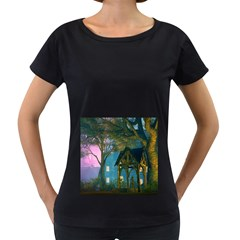 Background Forest Trees Nature Women s Loose Fit T Shirt (black)