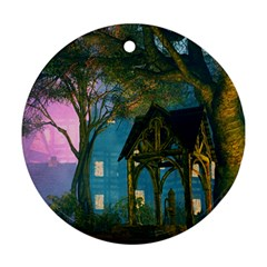 Background Forest Trees Nature Round Ornament (two Sides)