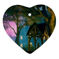 Background Forest Trees Nature Heart Ornament (two Sides)