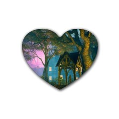 Background Forest Trees Nature Rubber Coaster (heart)