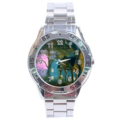 Background Forest Trees Nature Stainless Steel Analogue Watch