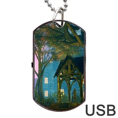 Background Forest Trees Nature Dog Tag Usb Flash (one Side)