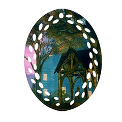 Background Forest Trees Nature Oval Filigree Ornament (two Sides)