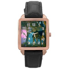 Background Forest Trees Nature Rose Gold Leather Watch