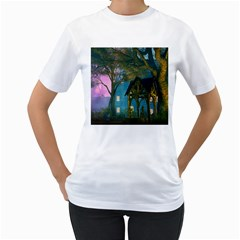 Background Forest Trees Nature Women s T Shirt (white)