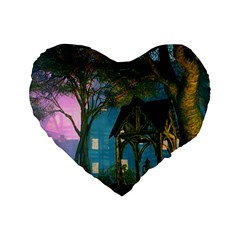 Background Forest Trees Nature Standard 16  Premium Flano Heart Shape Cushions
