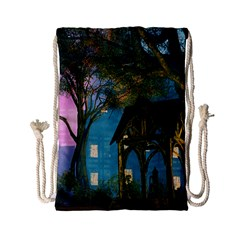 Background Forest Trees Nature Drawstring Bag (small)