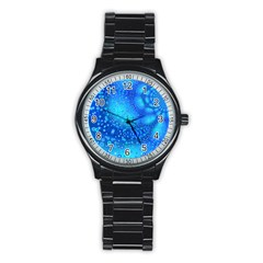 Bokeh Background Light Reflections Stainless Steel Round Watch