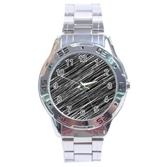 Background Structure Pattern Stainless Steel Analogue Watch