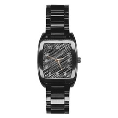 Background Structure Pattern Stainless Steel Barrel Watch