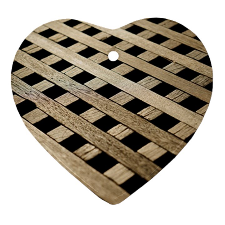 Texture Wood Flooring Brown Macro Ornament (Heart)