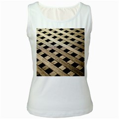 Texture Wood Flooring Brown Macro Women s White Tank Top