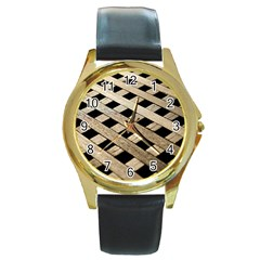 Texture Wood Flooring Brown Macro Round Gold Metal Watch