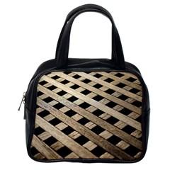 Texture Wood Flooring Brown Macro Classic Handbags (one Side)