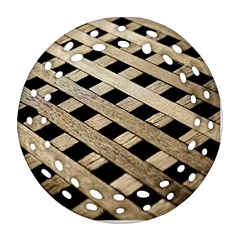 Texture Wood Flooring Brown Macro Round Filigree Ornament (two Sides)