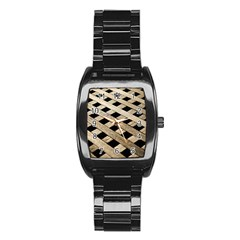 Texture Wood Flooring Brown Macro Stainless Steel Barrel Watch