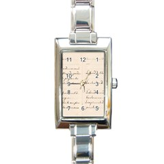 German French Lecture Writing Rectangle Italian Charm Watch
