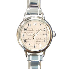 German French Lecture Writing Round Italian Charm Watch
