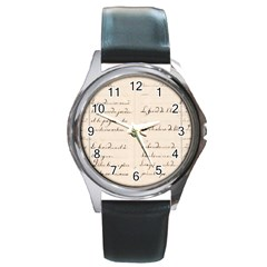 German French Lecture Writing Round Metal Watch
