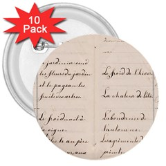 German French Lecture Writing 3  Buttons (10 Pack)