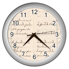 German French Lecture Writing Wall Clocks (silver)