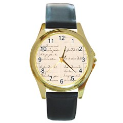 German French Lecture Writing Round Gold Metal Watch