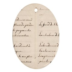 German French Lecture Writing Oval Ornament (two Sides)