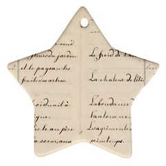 German French Lecture Writing Star Ornament (two Sides)
