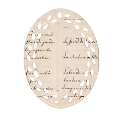 German French Lecture Writing Ornament (oval Filigree)