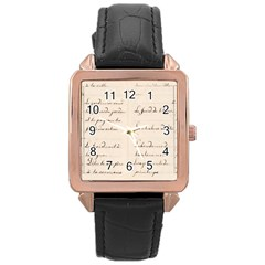 German French Lecture Writing Rose Gold Leather Watch