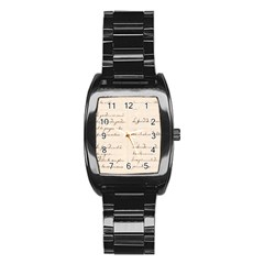 German French Lecture Writing Stainless Steel Barrel Watch
