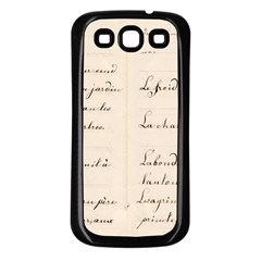 German French Lecture Writing Samsung Galaxy S3 Back Case (black)