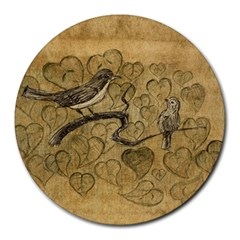 Birds Figure Old Brown Round Mousepads