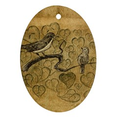 Birds Figure Old Brown Ornament (oval)