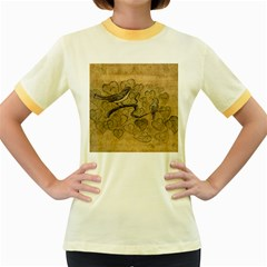 Birds Figure Old Brown Women s Fitted Ringer T Shirts