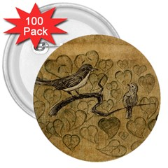 Birds Figure Old Brown 3  Buttons (100 Pack)