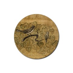 Birds Figure Old Brown Rubber Coaster (round)
