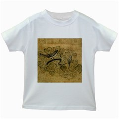 Birds Figure Old Brown Kids White T Shirts