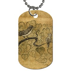 Birds Figure Old Brown Dog Tag (two Sides)