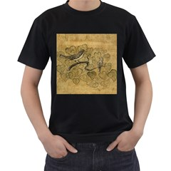 Birds Figure Old Brown Men s T Shirt (black) (two Sided)